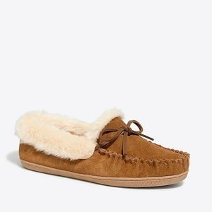 J Crew Suede shearling slippers